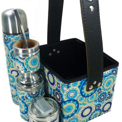 Set matero con canasta con mandalas azules