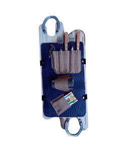Set de asado con truco y estuche color azul