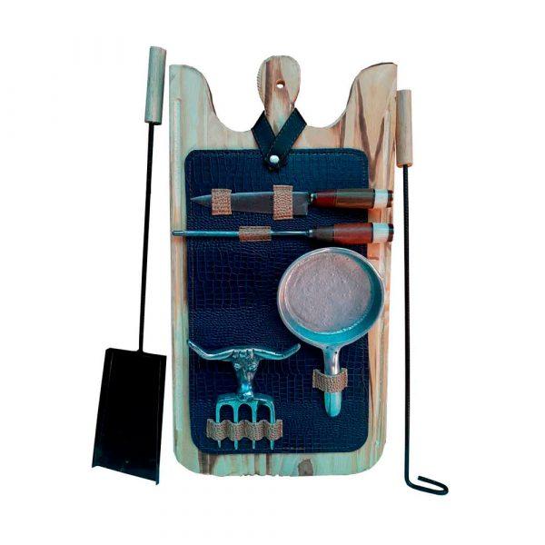 Set de asado atizador estuche azul