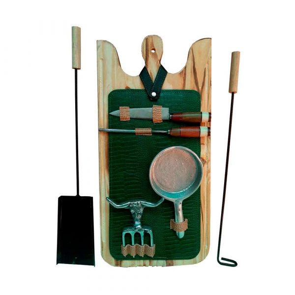 Set de asado super accesorios estuche verde