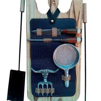 Set de asado atizador con estuche azul