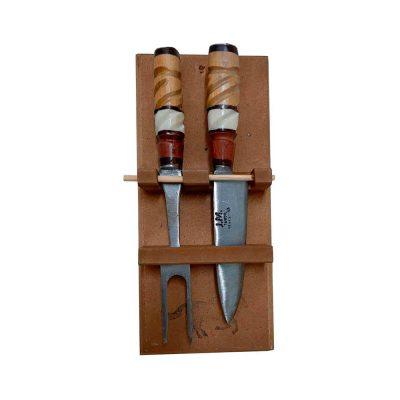 Set de cubiertos para asado con soporte de pared